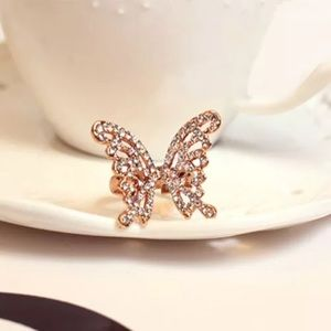 Adjustable Butterfly Gold Plated Sparkly CZ Ring